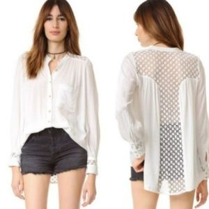 Free People Best Button Down Tan Sheer Back Shirt